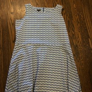 Blue pattern fit and flare dress
